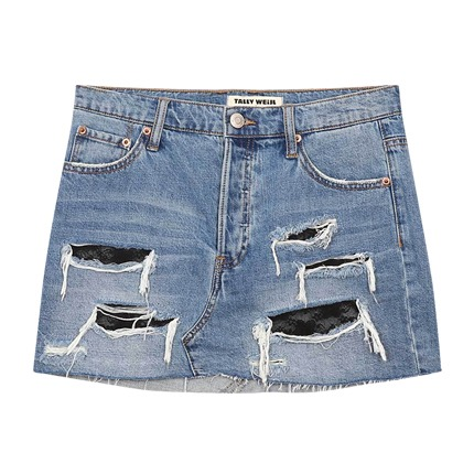 buy Distressed Denim Skirt at Rs. 2,500 sold by Ajio