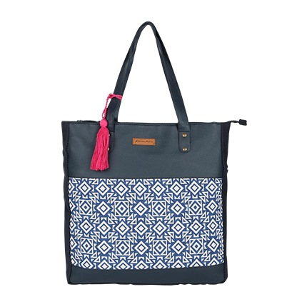 buy Printed Jacquard Tote Bag with Tassels at Rs. 800 sold by Ajio