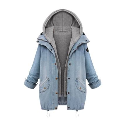buy Hooded Jean Swish Pockets Two Piece Coat at Rs. 2,509 sold by Shein