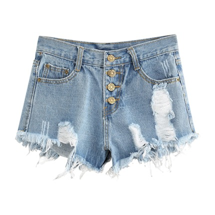 buy Button Fly Distressed Denim Shorts at Rs. 925 sold by Shein