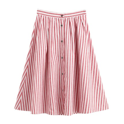 buy Buttoned Front Pleated Striped Skirt at Rs. 925 sold by Shein
