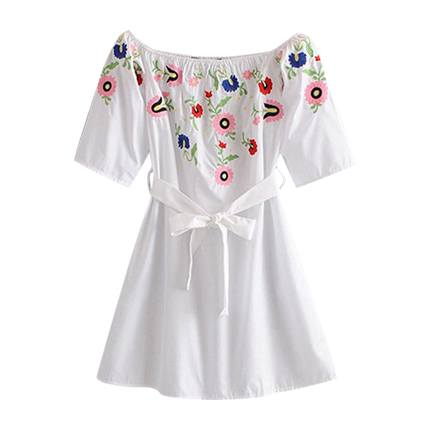 buy Self Tie Embroidery Dress at Rs. 1,292 sold by Shein
