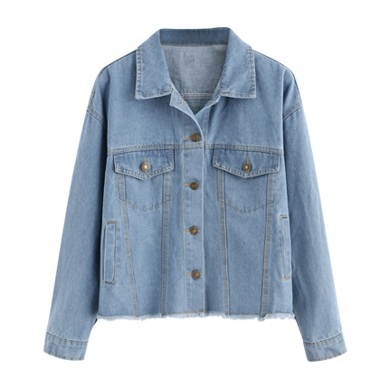 buy Patch Back Fray Hem Denim Jacket at Rs. 1,783 sold by Shein
