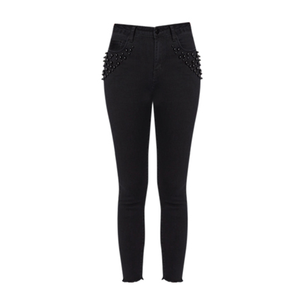 buy Rivet Detail Raw Hem Skinny Jeans at Rs. 1,236 sold by Shein