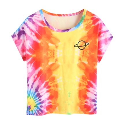 buy Water Color Planet Print Tee at Rs. 521 sold by Shein