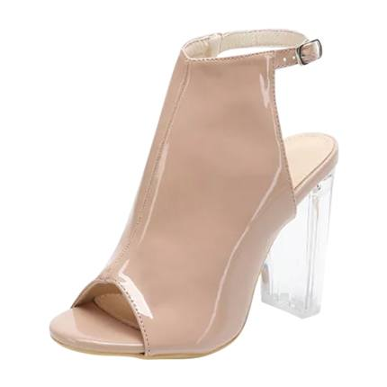 Buy Peep Toe Buckle Strap Chunky Heels