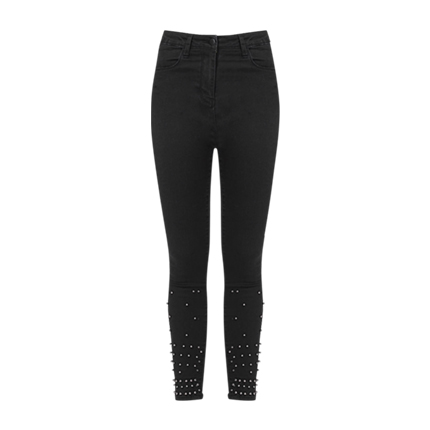 buy Rivet Hem Skinny Jeans at Rs. 1,236 sold by Shein