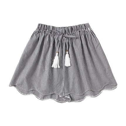 buy Striped Drawstring Waist Wave Edge Shorts at Rs. 529 sold by Shein