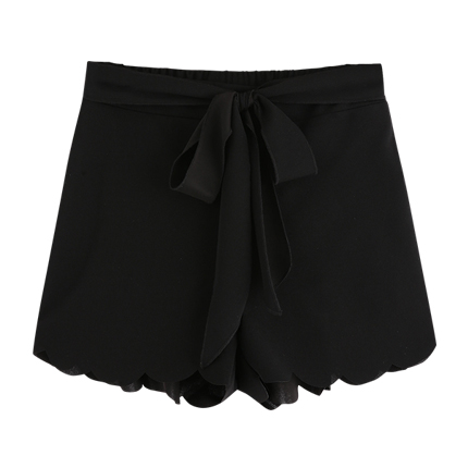 buy Tie Waist Scallop Edge Shorts at Rs. 529 sold by Shein