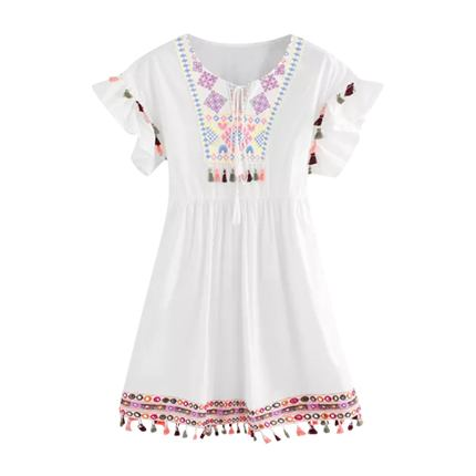 buy Tassel Trim Embroidered Dress at Rs. 1,449 sold by Shein