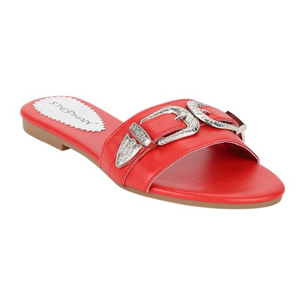 buy Chunky Yet Chic Red Black Flat Sandals at Rs. 1,225 sold by LuluAndSky