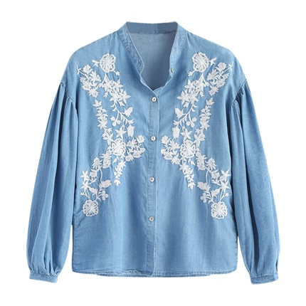 buy Long Sleeve Button Down Embroidered Shirt at Rs. 1,183 sold by Zaful