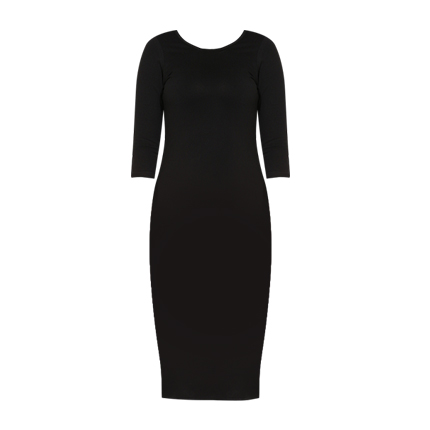 buy Black Solid Bodycon Dress at Rs. 1,100 sold by Jabong