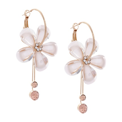 buy Shining Diva White & Gold-Toned Contemporary Hoop Earrings at Rs. 374 sold by Myntra