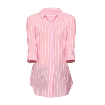 fff4ecc94c Explore latest abof Women Pink & White Striped Regular Fit Tunic at ...